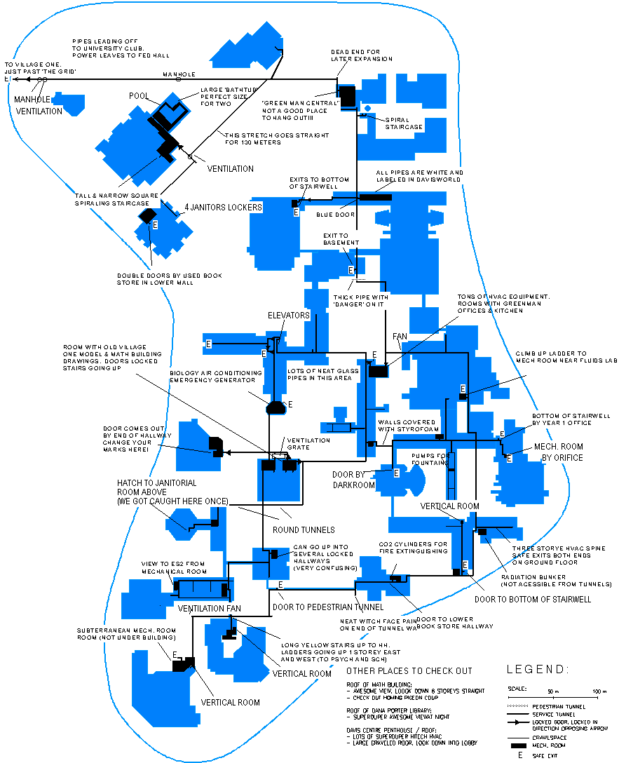 The University Of Waterloo Service Tunnels - Map of underground tunnels in the us